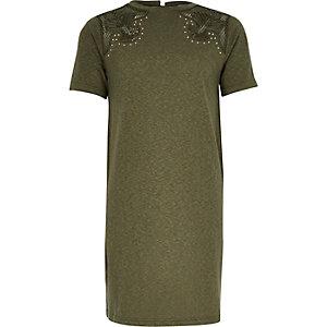 Kakigroene T-shirtjurk in cowgirlstijl voor meisjes