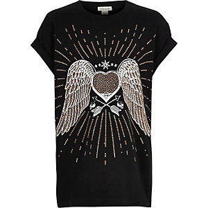 Girls black stud angel wings T-shirt
