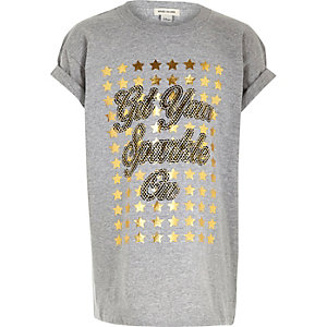 Girls grey sparkly Christmas T-shirt