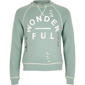 Distressed sweatshirt met wonderful-print voor meisjes