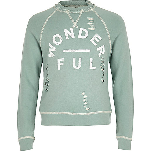 Girls wonderful print distressed sweatshirt