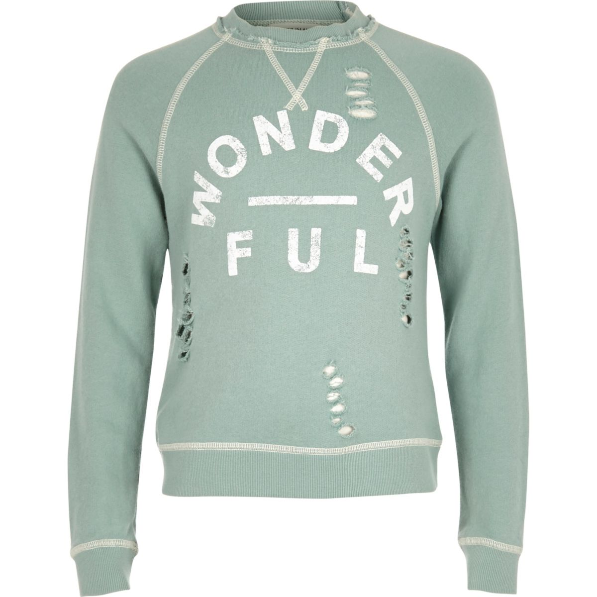 Girls wonderful print distressed sweatshirt