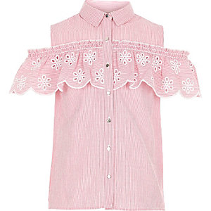 Girls pink stripe cold shoulder frill shirt