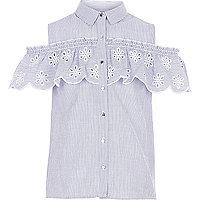 Girls blue stripe broderie cold shoulder top