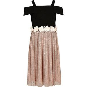 Girls black cold shoulder floral dress