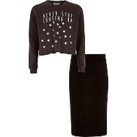 Girls grey print top and tube skirt