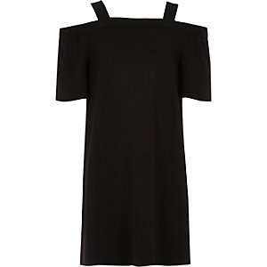 Girls black bardot swing dress