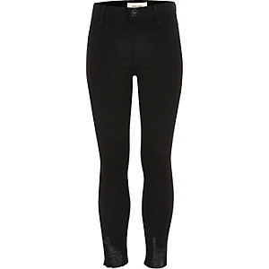 Girls black distressed Molly jeggings