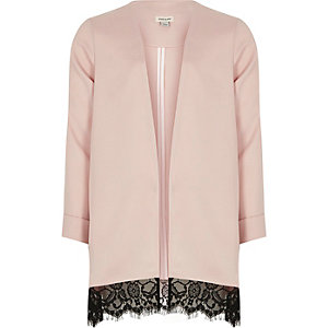 Girls pink lace hem duster jacket
