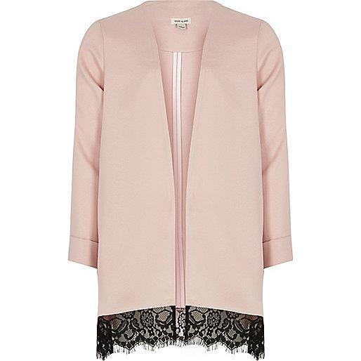 Girls pink lace hem duster jacket