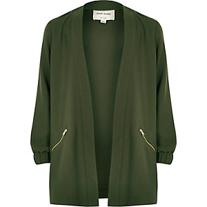 Girls khaki green duster jacket