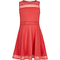 Girls coral  pink blocked mesh prom dress