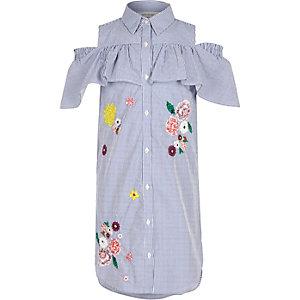 Girls blue stripe frill cold shoulder dress