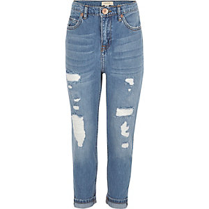 Girls blue ripped girlfriend jeans