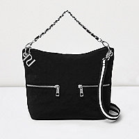Girls black quilted tote cross body strap