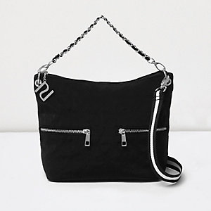 Girls black quilted tote crossbody strap