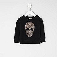 Mini girls black skull stud sweatshirt