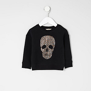 Mini girls black skull stud sweatshirt
