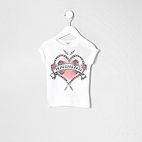 Mini girls white 'heartbreaker' print T-shirt