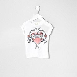 T-shirt Heartbreaker blanc mini fille