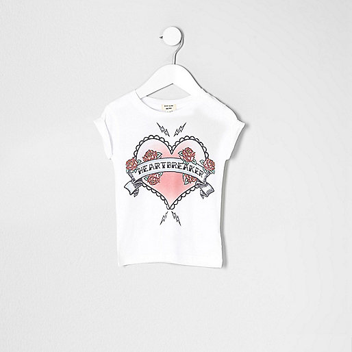 Mini girls white heartbreaker NY T-shirt