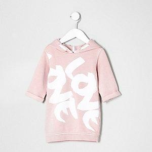 Robe pull rose à capuche imprimé Love mini fille