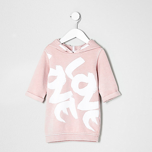 Mini girls pink hooded love sweater dress