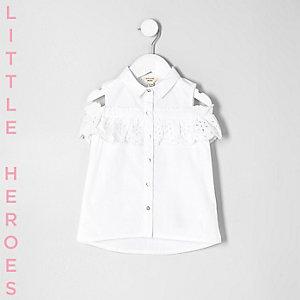 Chemise en crochet blanche à épaules dénudées pour mini fille