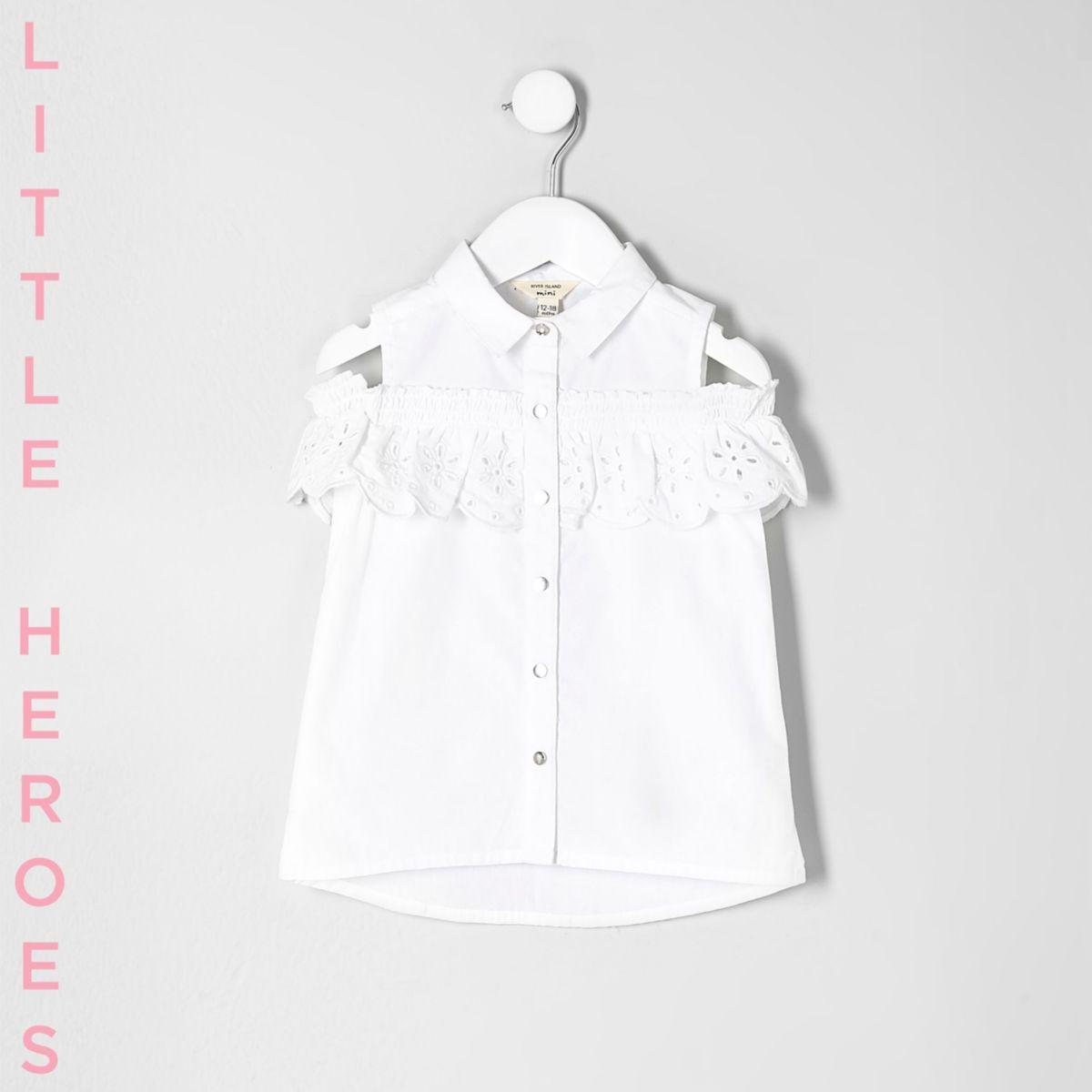Mini girls white crochet cold shoulder shirt