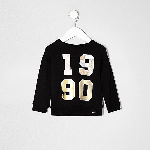 Mini girls black metallic print sweatshirt