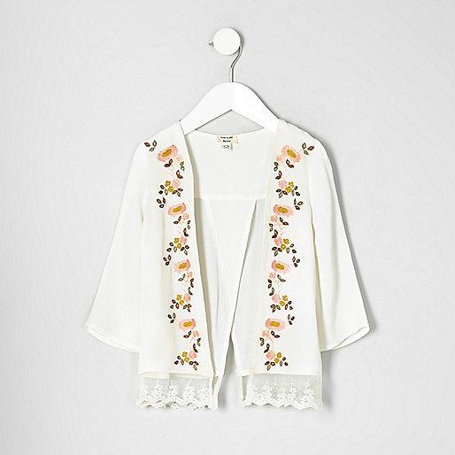 Mini girls floral lace hem kimono