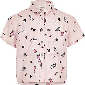 Girls pink milkshake print cropped shirt