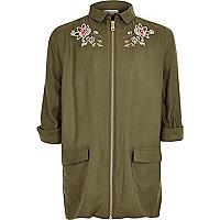 Girls khaki green embroidered shacket
