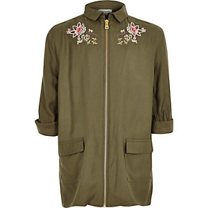 Girls khaki green embroidered shacket