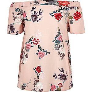 Girls pink oriental print bardot top