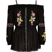 Girls black floral embroidered bardot top