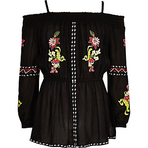 Girls black floral embroidered bardot top