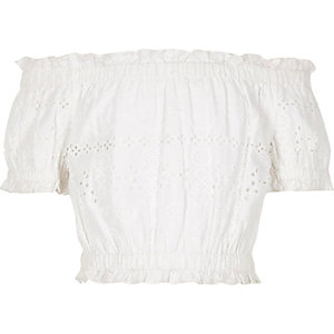 White broderie bardot crop top