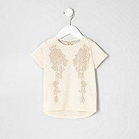 T-shirt motif ailes d'ange à clous rose mini fille