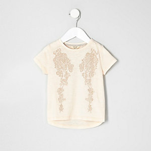 Mini girls pink angel wings stud T-shirt