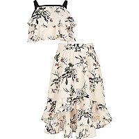 Girls pink floral crop top and maxi skirt set