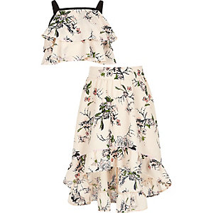 Girls pink floral crop top and maxi skirt set