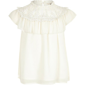 Girls white lace frill top