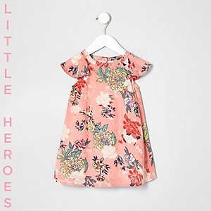 Mini girls pink floral flare shoulder dress