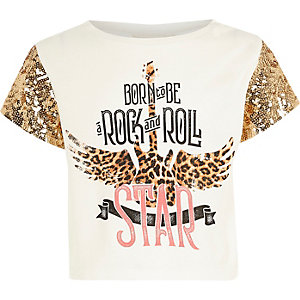 Girls white band print sequin sleeve T-shirt