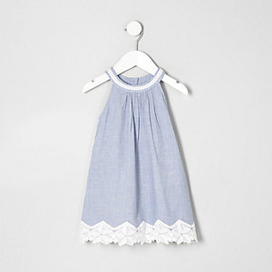 Mini girls blue chambray lace hem dress