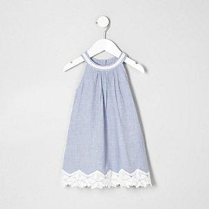 Robe en chambray bleue avec ourlet en dentelle mini fille