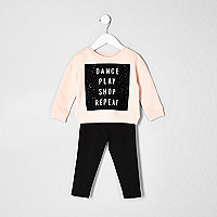 Mini girls dance sweater and leggings set