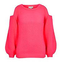 Girls coral pink knit cold shoulder sweater