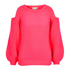 Girls coral pink knit cold shoulder sweater